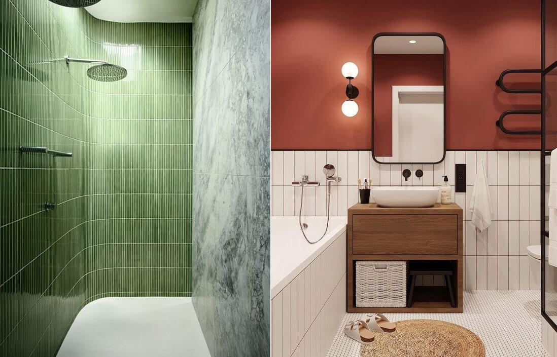 9 tendencias para baños en 2021: color en masa.