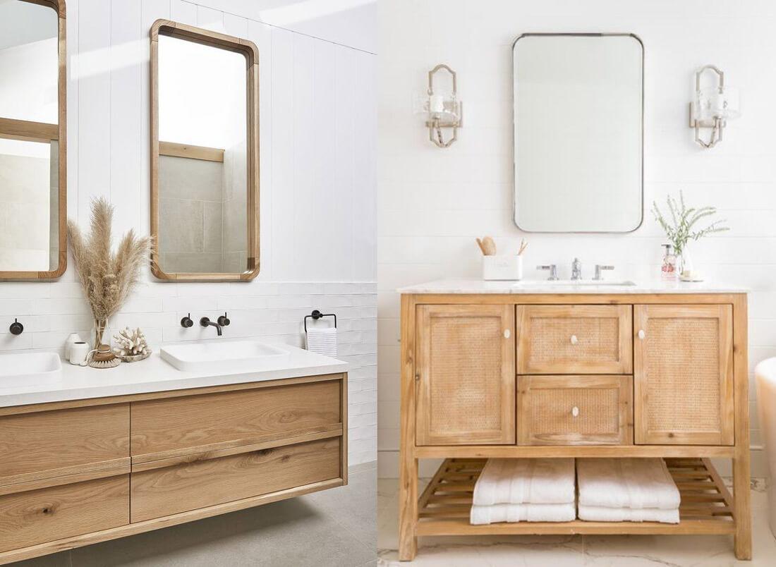 9 tendencias para baños en 2021: muebles de madera.