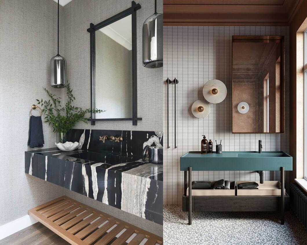 9 tendencias para baños en 2021: encimera protagonista.